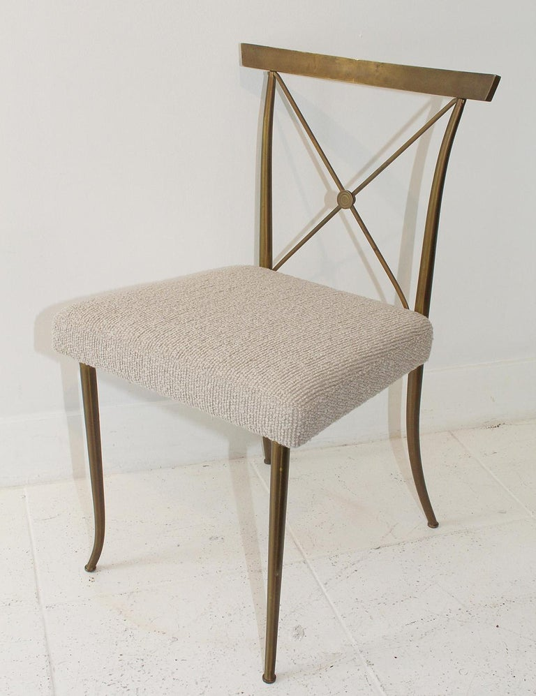 Set of Four Brass Chairs by William