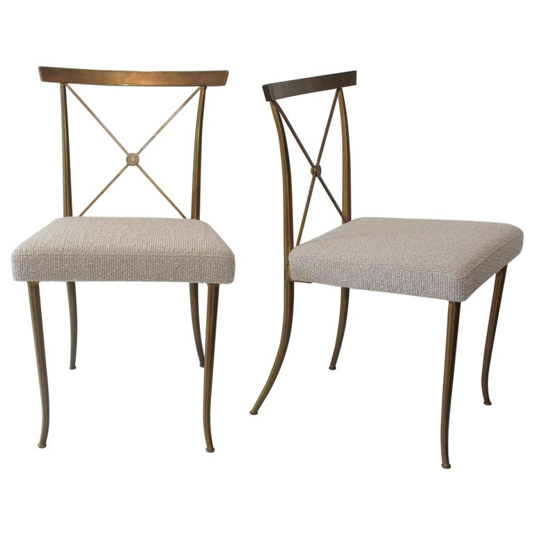 """Set of Four Brass Chairs by William """"Billy"""" Haines, circa 1950 For Sale"""