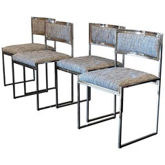 Set of Four Brass/Chrome Dining Chairs by Willy Rizzo, Italy, 1970s