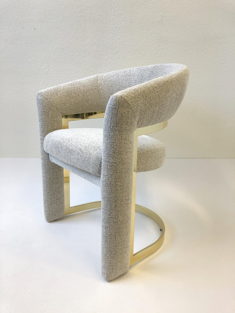 Modern Set of Four Brass Dining Chairs by Design Institute of America For Sale