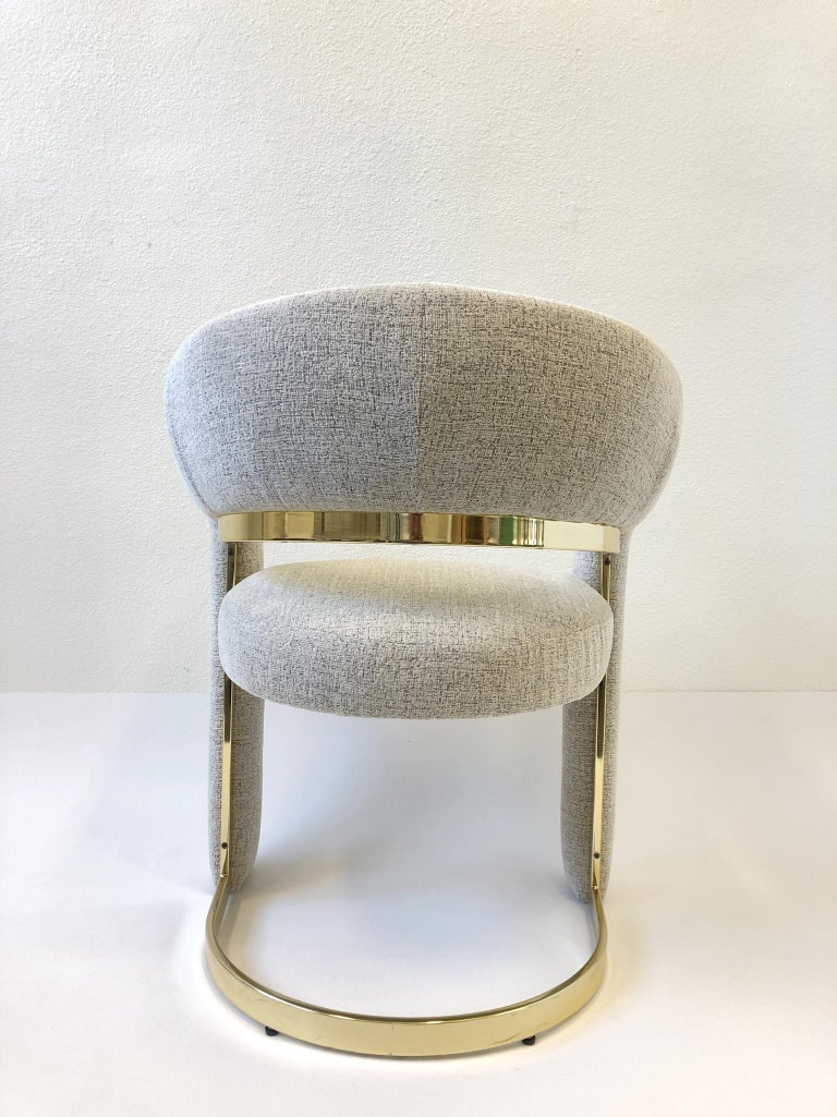 Polished Set of Four Brass Dining Chairs by Design Institute of America For Sale