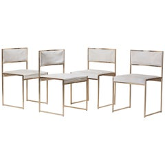 Set of Four Brass Dining Chairs by Willy Rizzo