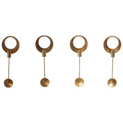 Set of Four Brass Wall-Mounted Candleholders by Artur Pe Kolbäck, Sweden, 1950s