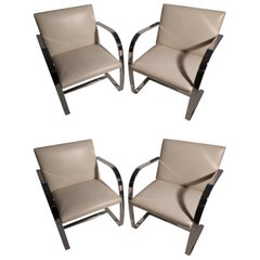 Set of Four Flat Bar Brno Chairs by Mies Van Der Rohe Knoll