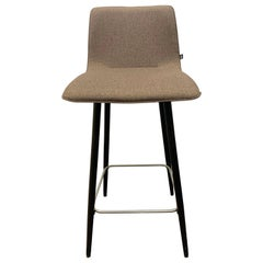 Set of Four Brown Fabric Maverick High Back Counter Stools