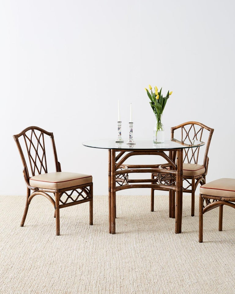 Set Of Four Brown Jordan Rattan Dining Chairs For Sale At