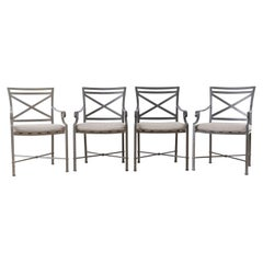 Set of Four Brown Jordan Venetian Aluminum Patio Armchairs
