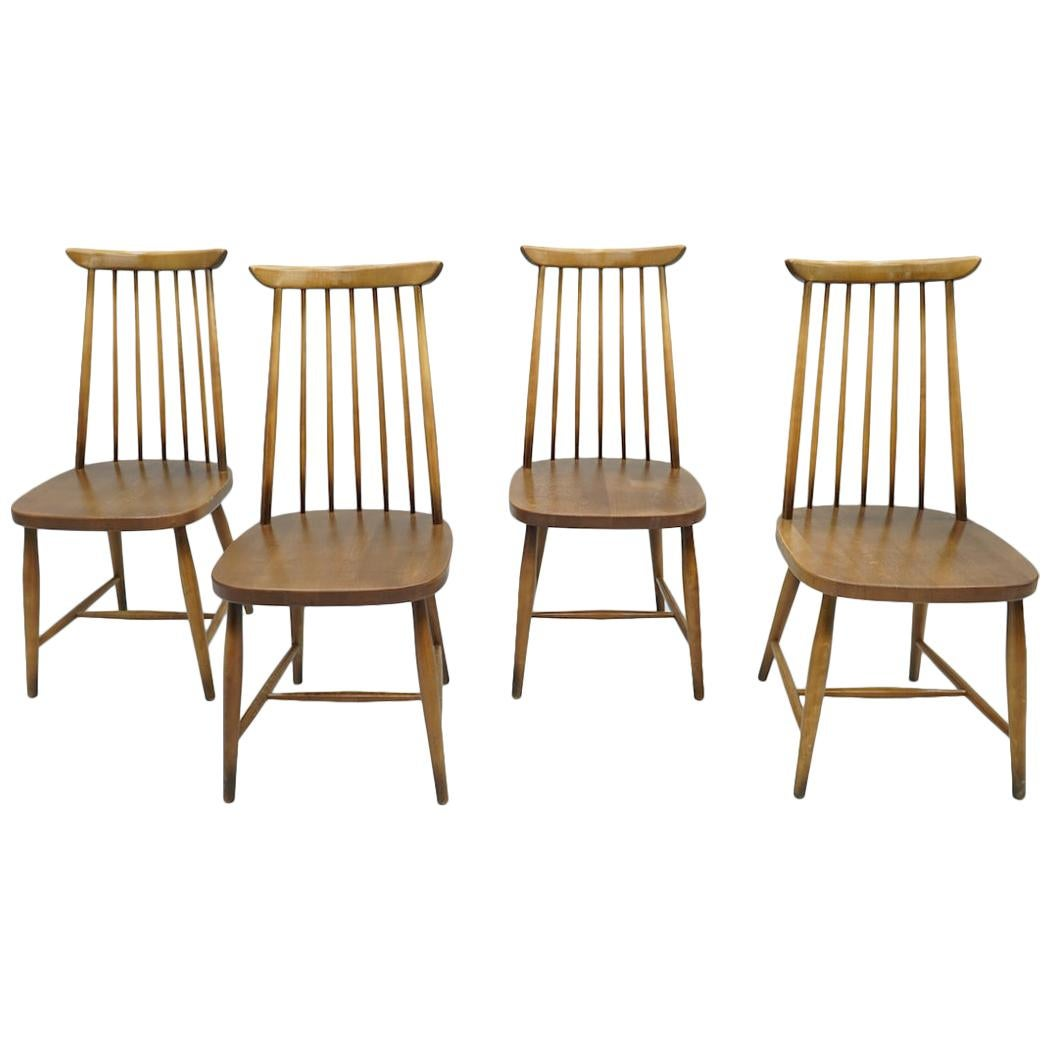 Set of Four Brown Scandinavian Wood Dining Room Chairs, 1960s