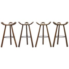 Set of Four Brutalist Bar Stools, 1960s