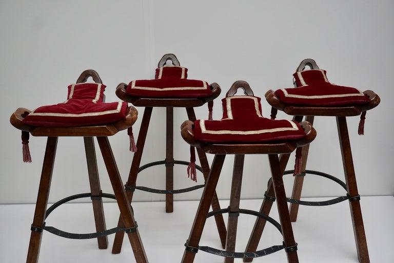 Set of Four Brutalist Bull Barstools Marbella Light Brown For Sale 4