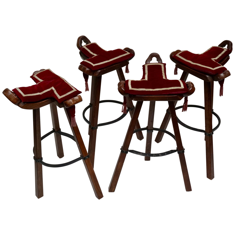 Set of Four Brutalist Bull Barstools Marbella Light Brown