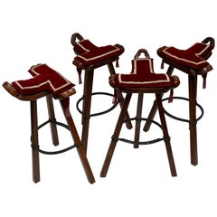 Set of Four Brutalist Bull Barstools Marbella Light Brown