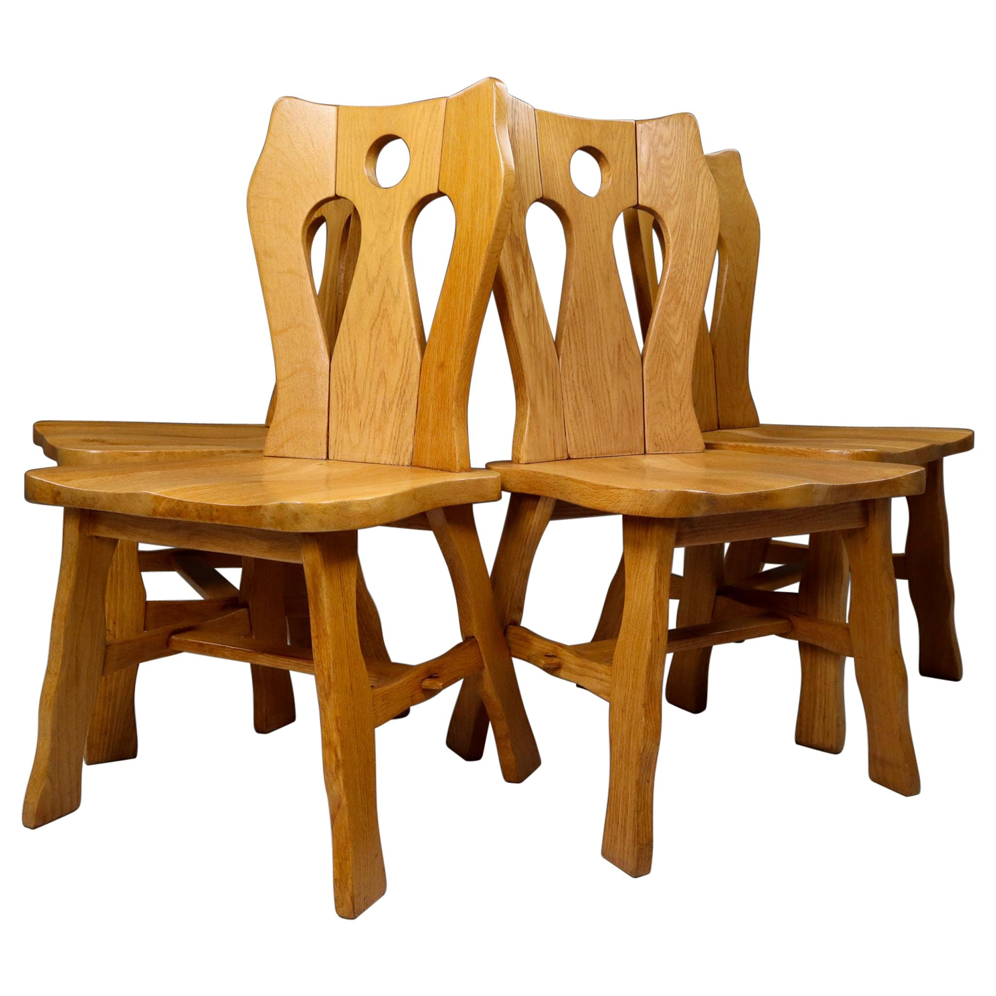 Set of Four Brutalist Chairs in Blond Oak, Belgium, 1960s