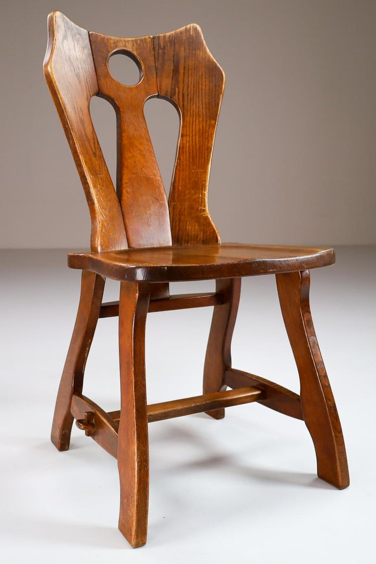 Belgian Set of Four Brutalist Chairs in Patinated Oak, Belgium, 1960s For Sale