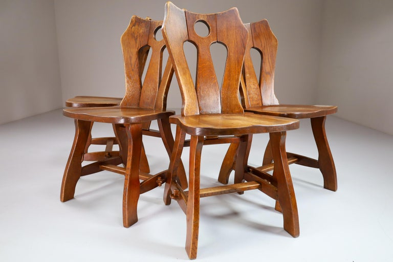 Mid-20th Century Set of Four Brutalist Chairs in Patinated Oak, Belgium, 1960s For Sale