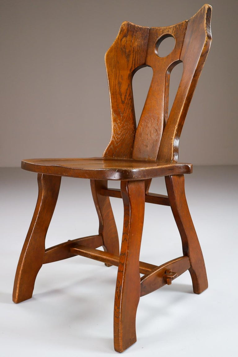 Set of Four Brutalist Chairs in Patinated Oak, Belgium, 1960s For Sale 3