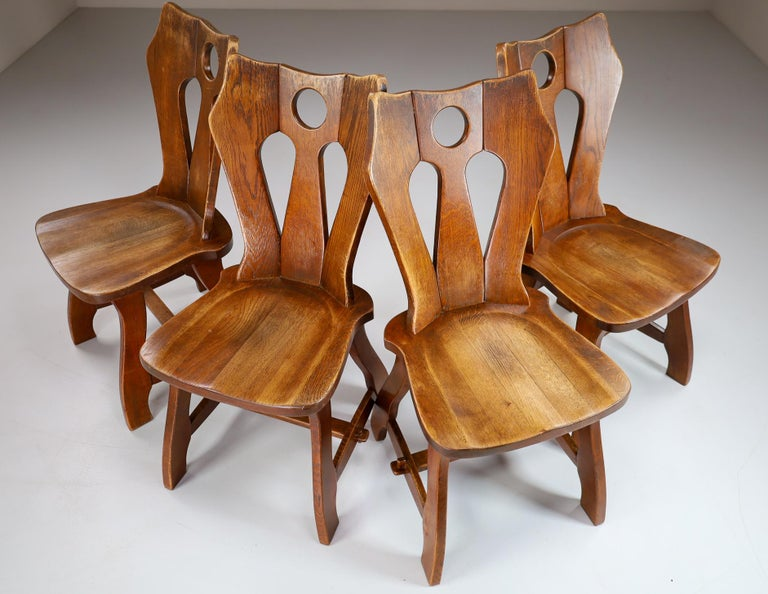 Set of Four Brutalist Chairs in Patinated Oak, Belgium, 1960s For Sale 4