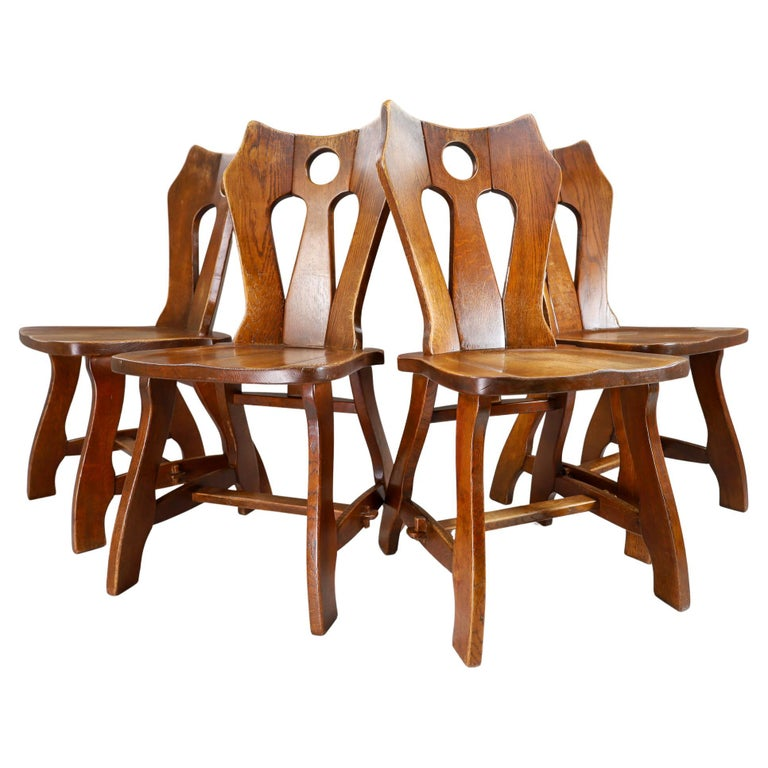 Set of Four Brutalist Chairs in Patinated Oak, Belgium, 1960s For Sale