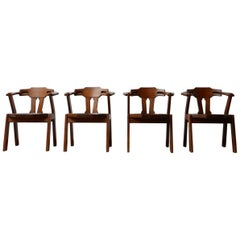 Set of Four Brutalist Mid-Century Oak Dining Chairs '4'