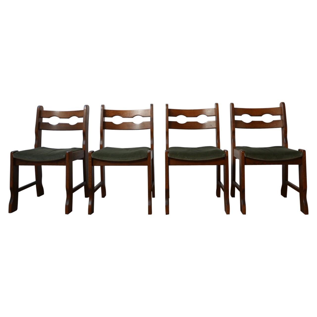 Set of Four Brutalist Midcentury Belgium Oak Dining Chairs