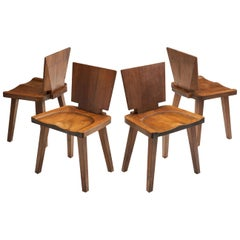 Set of Four Brutalist Pine Chairs, Scandinavia, circa 1950s
