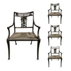 Set of Four by Molla Wrought Iron Neoclassical Diana the Huntress Garden Chairs