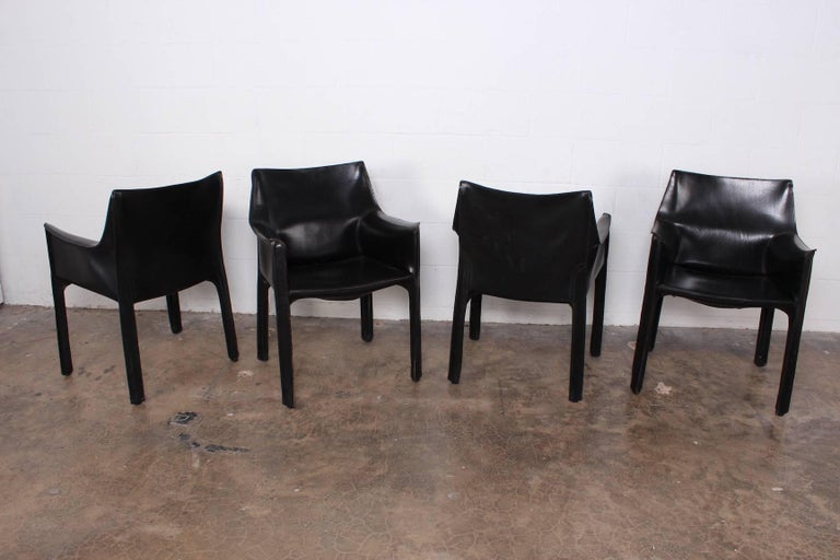 Set of Four Cab Armchairs by Mario Bellini for Cassina For Sale 3