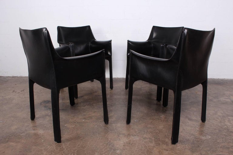 Set of Four Cab Armchairs by Mario Bellini for Cassina For Sale 5