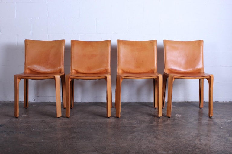 Set of Four Cab Chairs by Mario Bellini In Fair Condition For Sale In Dallas, TX