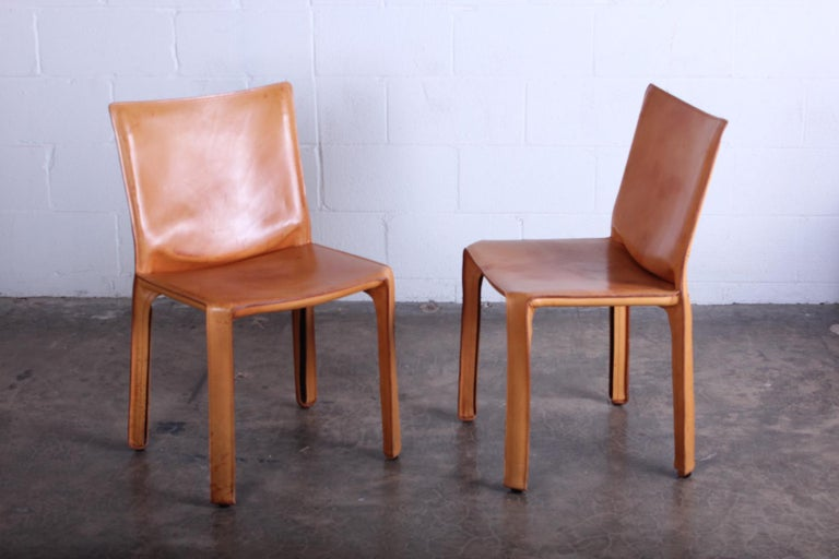 Leather Set of Four Cab Chairs by Mario Bellini For Sale