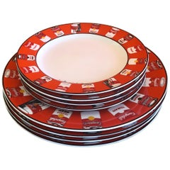 Set of Four Cambells Soup Salad and Dinner Plates by Andy Warhol for Block Art