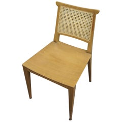Set of Four Cane and Mahogany Dining Chairs by Edward Wormley for Dunbar