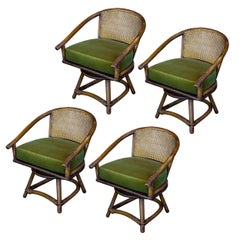 Set of Four Cane and Rattan Swivel Chairs, France, 1960s