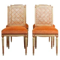 Set of Four Caned and Painted Side Chairs