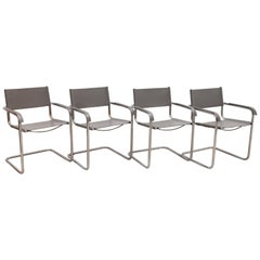 Set of Four Cantilever Grey Saddle Leather Thonet Chairs, 1970s