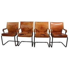 Set of Four Cantilevered Uno Chairs in Brown Leather by Marcatre
