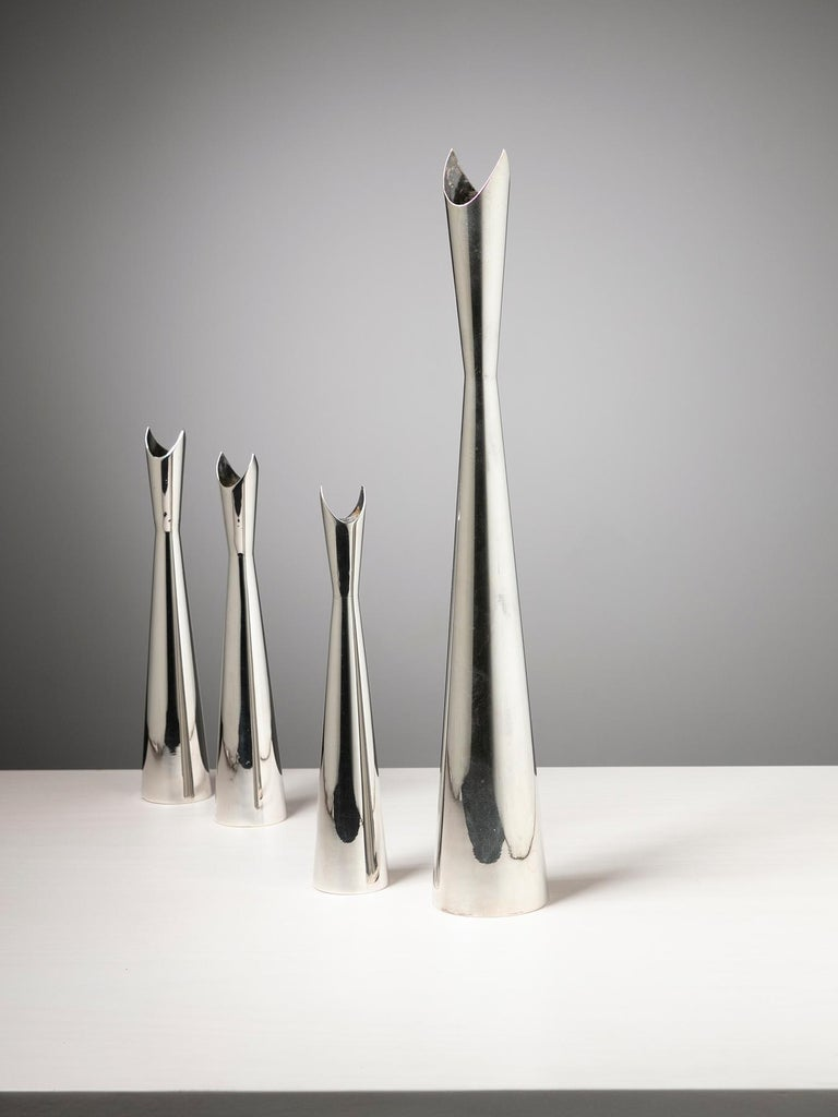Set of four Cardinale vases by Lino Sabattini for Christofle, Paris. Size refers to the tallest piece.