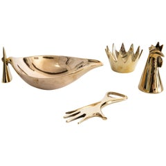 Set of Four Carl Auböck Brass Objects