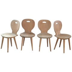 Set of Four Carl Malmsten Dining Chairs in Natural Pine Scandinavian Midcentury