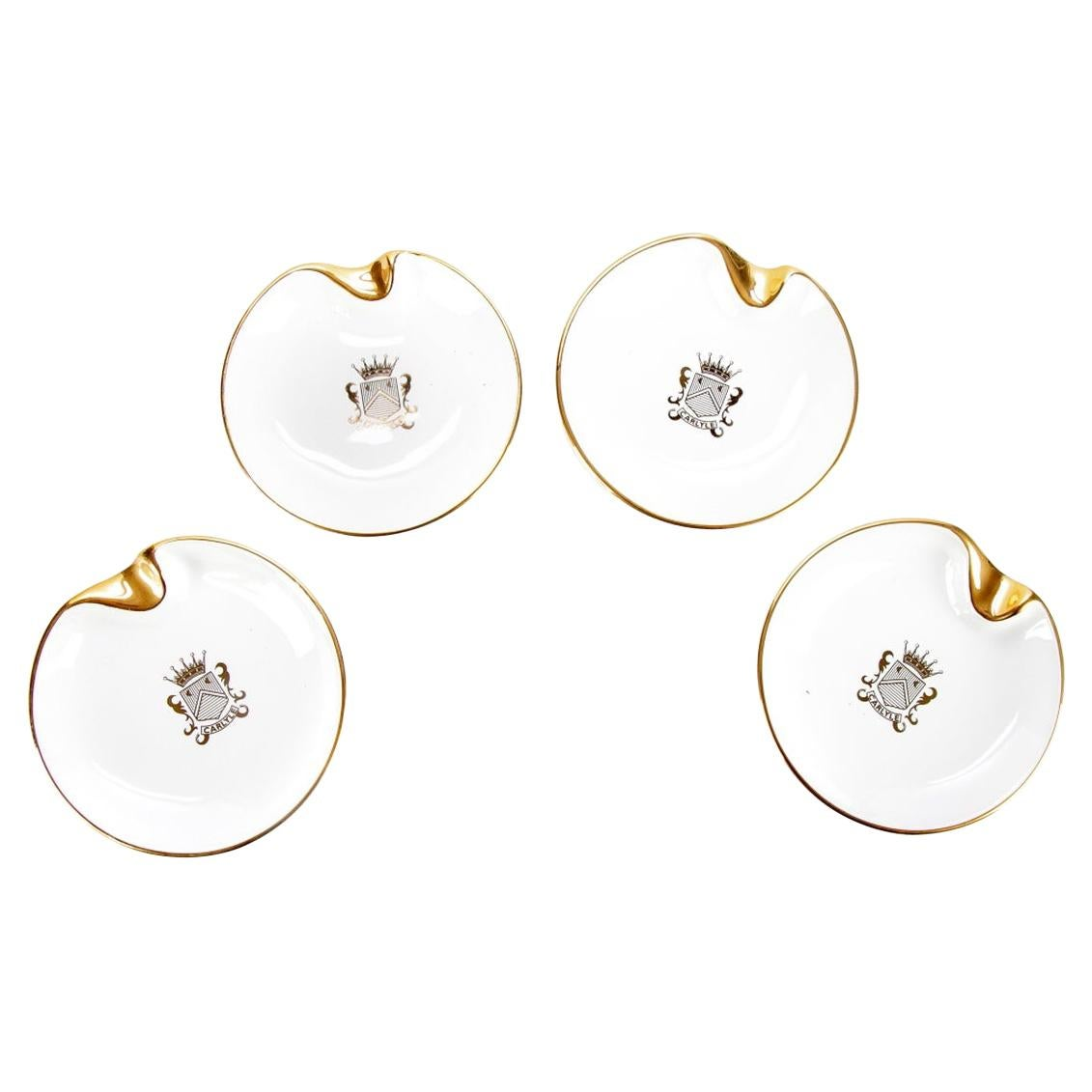 Set of Four Carlyle Hotel Ashtrays with 18K Gold Embossing
