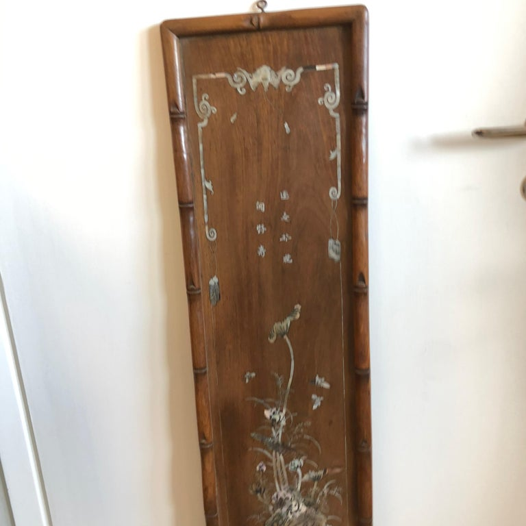 20th Century Set of Four Carved Asian Wood Panels with Mother of Pearl Inlays For Sale