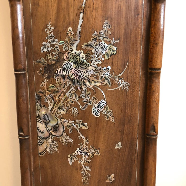 Set of Four Carved Asian Wood Panels with Mother of Pearl Inlays For Sale 2
