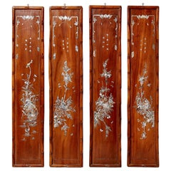 Set of Four Carved Asian Wood Panels with Mother of Pearl Inlays