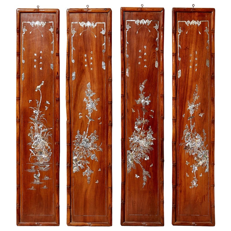 Set of Four Carved Asian Wood Panels with Mother of Pearl Inlays For Sale