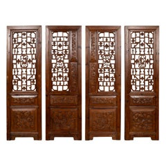Set of Four Carved Elm Screen Panels with Fretwork, Foliage and Floral Motifs