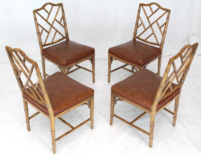 Mid-Century Modern Set of Four Carved Faux Bamboo Dining Chairs For Sale