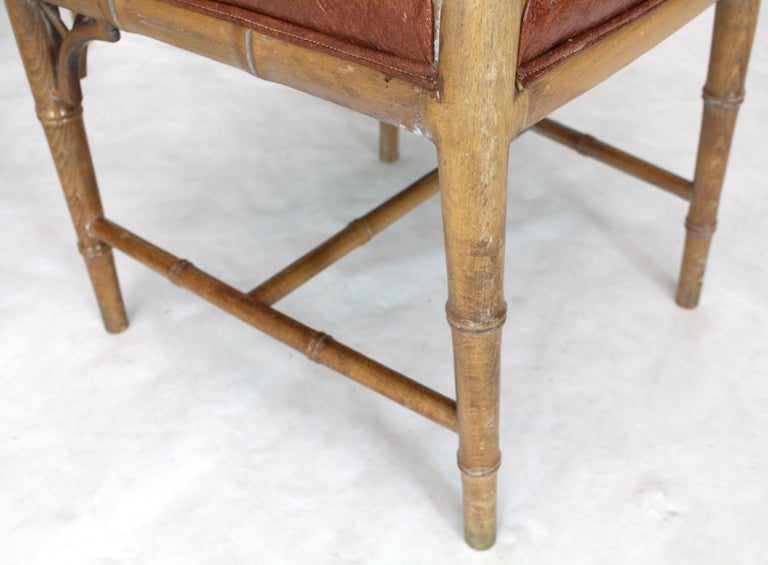 American Set of Four Carved Faux Bamboo Dining Chairs For Sale