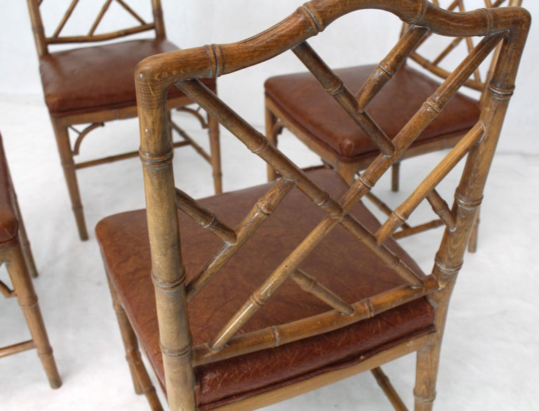 Lacquered Set of Four Carved Faux Bamboo Dining Chairs For Sale