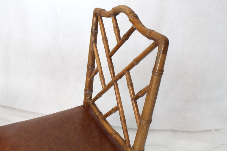 Set of Four Carved Faux Bamboo Dining Chairs In Excellent Condition For Sale In Blairstown, NJ