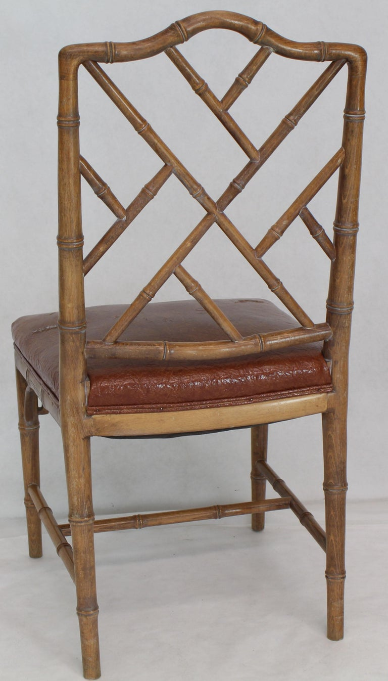 20th Century Set of Four Carved Faux Bamboo Dining Chairs For Sale